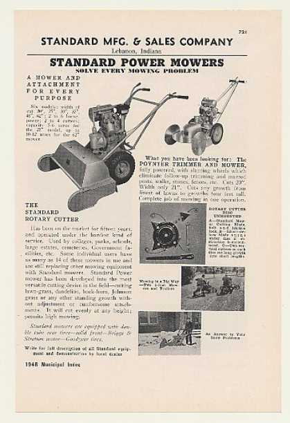 Standard Mfg Rotary Cutter Poynter Power Mowers (1948)