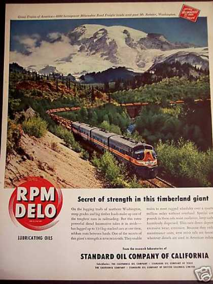 Train Hauls Logs Past Mt Rainier Rpm Delo Oil (1950)