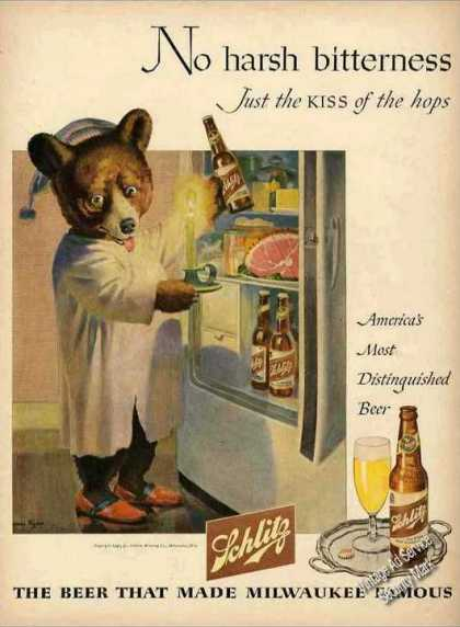 Bear at Refrigerator Nice Schlitz Beer (1946)