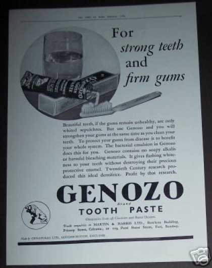 Genozo Tooth Paste England (1936)