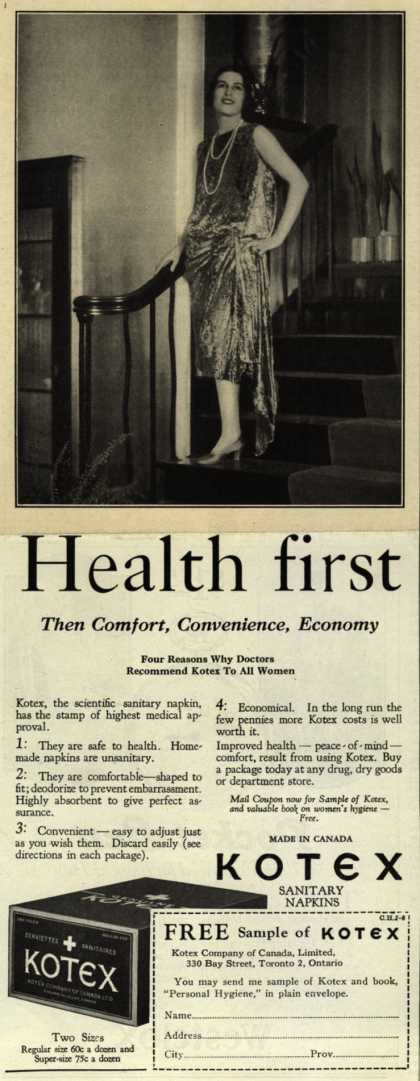 Kotex Company's Sanitary Napkins – Health first (1929)
