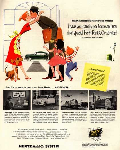 Hertz Rent-A-Car System's Hertz – Leave your family car home and use that special Hertz Rent-A-Car service (1954)