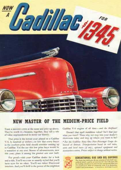 Cadillac Car – Red with Advertised Price (1940)