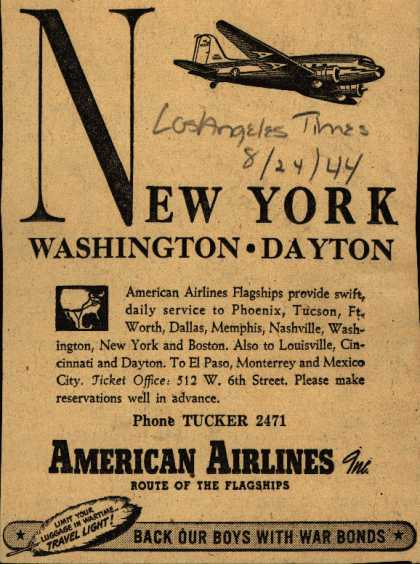American Airlines – New York-Washington-Dayton (1944)