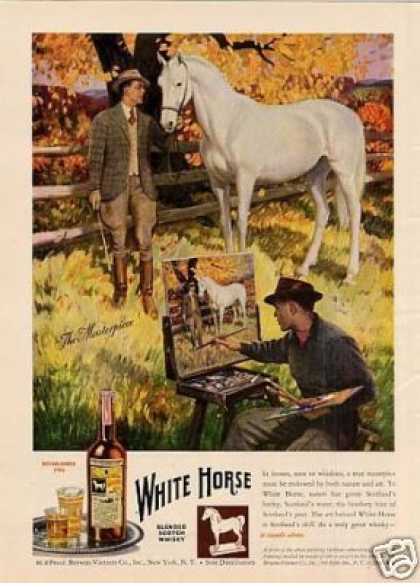 White Horse Scotch Whisky Ad Clymer Art (1947)