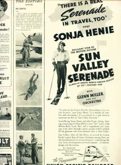Union Pacific Railroad C 1/2 Pg Ad Sonja Henie (1941)