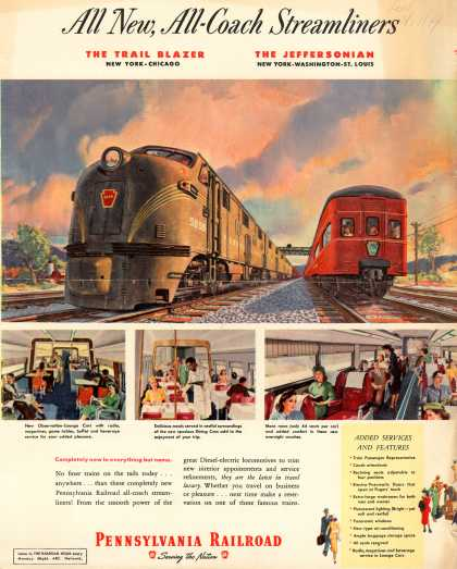 Pennsylvania Railroad – All New, All-Coach Streamliners (1949)
