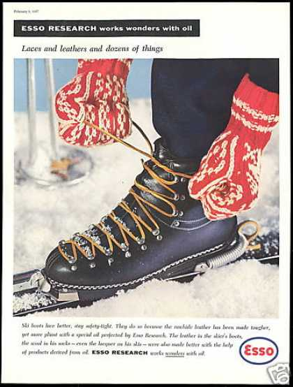 Lace Snow Ski Boots Photo Esso Oil (1957)