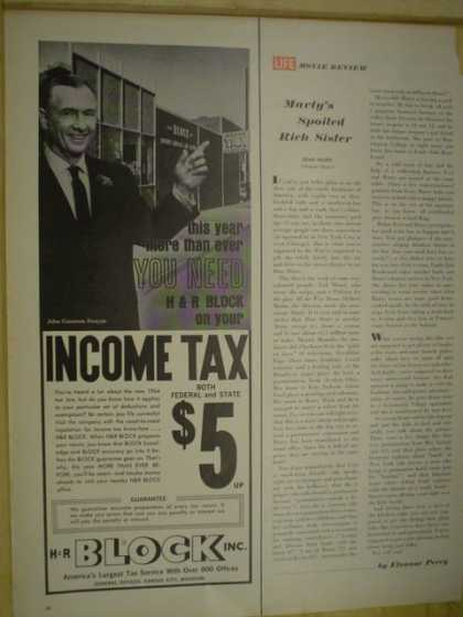 H & R HR Block Income tax Federal and State for $5 (1965)