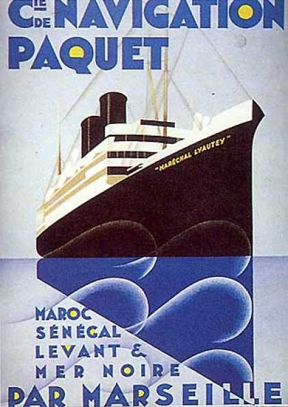 Navigation Paquet, (Lithograph) by Ponty (1930)
