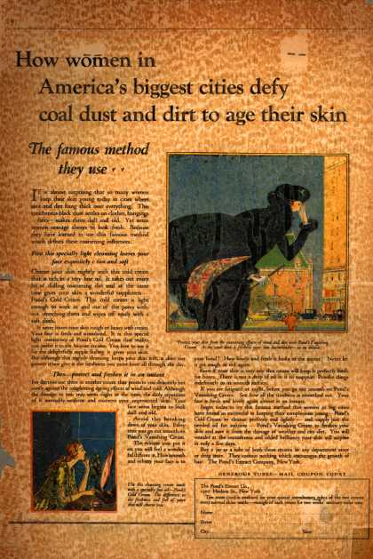 Pond's Extract Co.'s Pond's Cold Cream and Vanishing Cream – How women in America's biggest cities defy coal dust and dirt to age their skin. (1923)