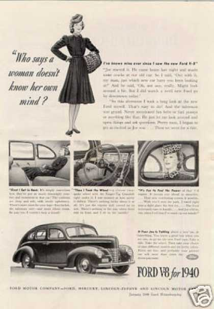 "Ford V-8 Car Ad ""Who Says a Woman... (1940)"