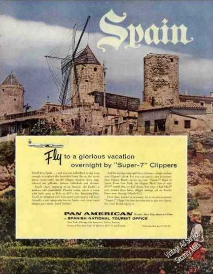 "Pan-am ""Super-7"" Clippers Nice Spain Photo (1959)"