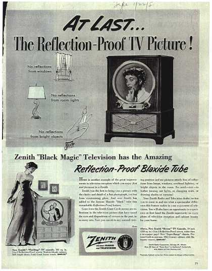 Zenith Radio Corporation's Television – At Last... The Reflection-Proof TV Picture (1951)