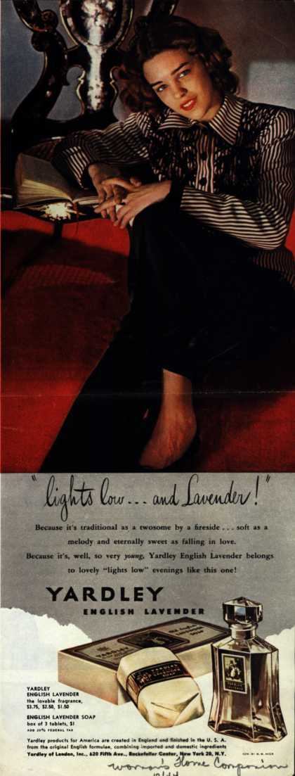 "Yardley of London's English Lavender Cosmetics – ""lights low...and Lavender!"" (1944)"