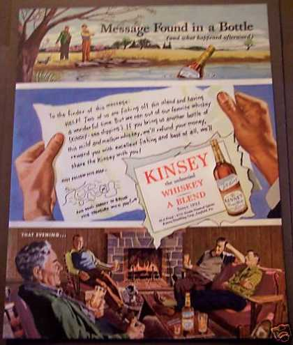 Kinsey Whiskey Message In a Bottle (1946)