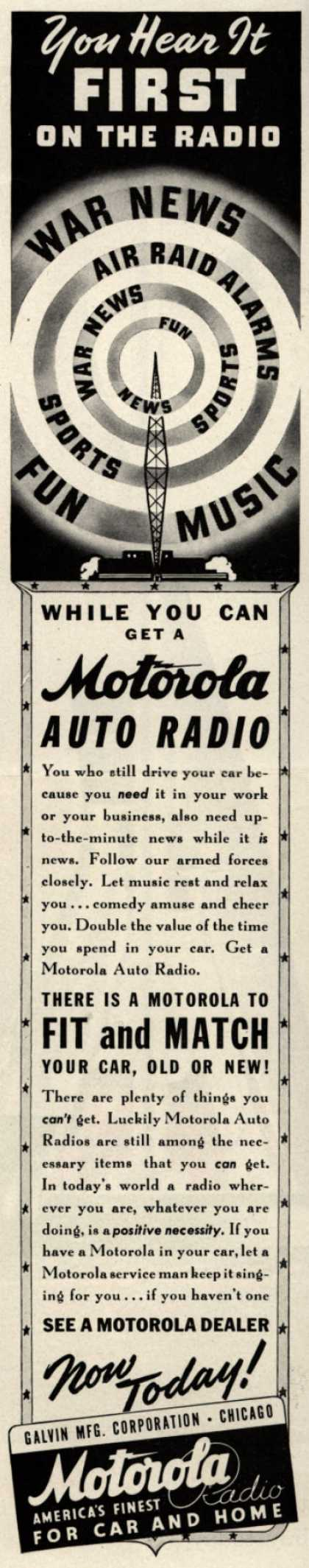Galvin Manufacturing Corporation's Auto Radio – You Hear it First on the Radio (1942)