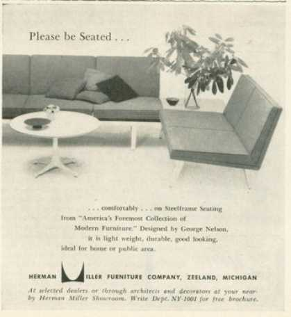 Herman Miller Design Furniture Ad Chair Couch Sofa (1955)