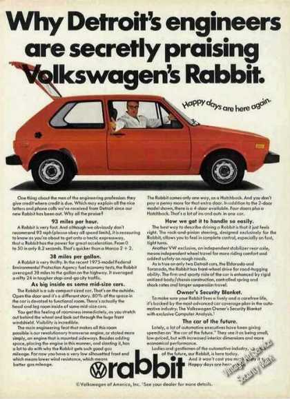 Vw Volkswagen &quot;Detroit Secretly Praising&quot; (1975)