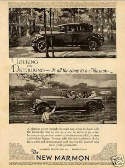 "Marmon Cars Ad ""Touring or Detouring... (1926)"