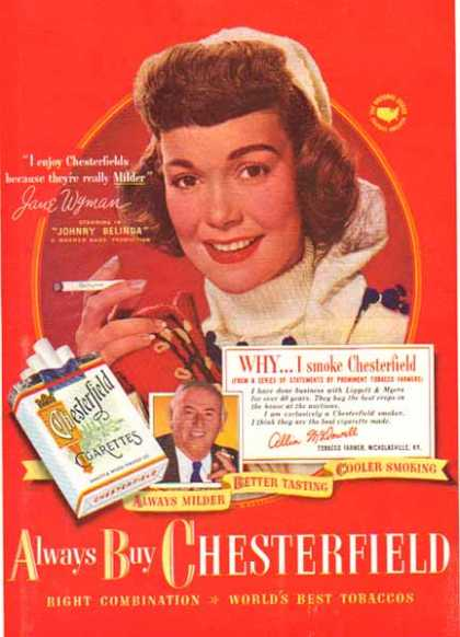 Chesterfield Cigarettes – Jane Wyman (1948)