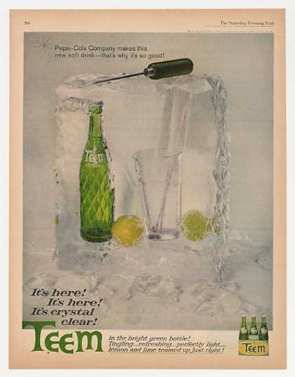 Pepsi-Cola Co Teem Soda Green Bottle Ice Block (1962)