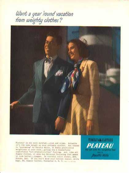 Timely Clothes Fashion – Plateau Wool Suit – Pacific Mills (1948)