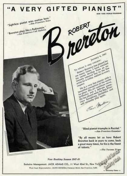 Robert Brereton Photo Piano Booking (1947)