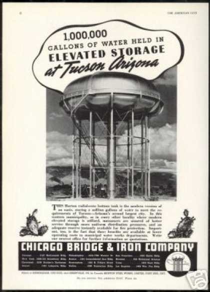 Tucson Arizona Water Storage Tank Photo Vintage (1941)