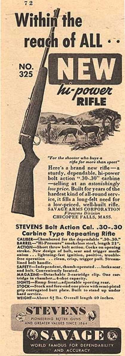 Savage's Stevens Bolt Action Cal. .30-.30 Carbine Type Repeating Rifle (1947)