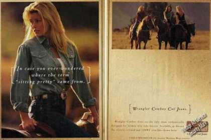"Wrangler Jeans Girl On Horse ""Sitting Pretty"" (1999)"