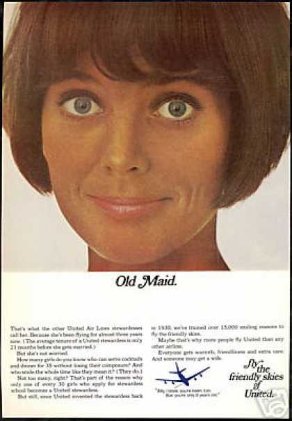 United Airlines Old Maid Stewardess Photo (1967)