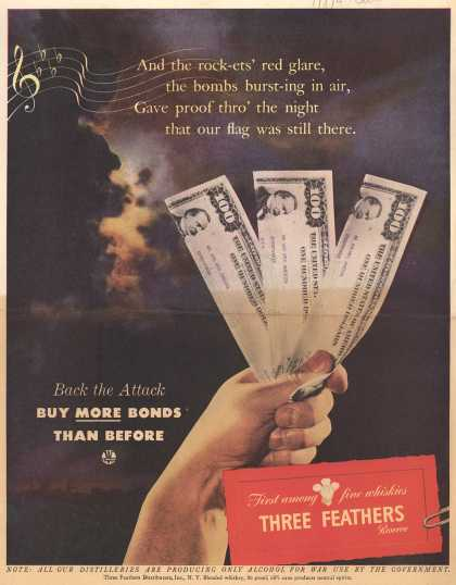 Three Feathers Distributor's War Bonds – Back the Attack Buy More Bonds Than Before (1944)