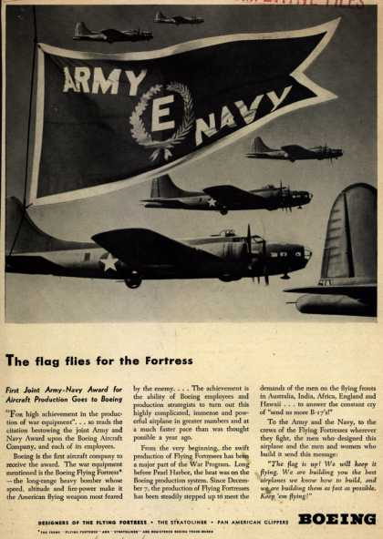 "Boeing's Army Navy ""E"" – The flag flies for the Fortress (1942)"