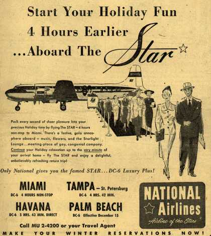 National Airline's Star festive atmosphere – Start Your Holiday Fun 4 Hours Earlier... Aboard The Star (1950)