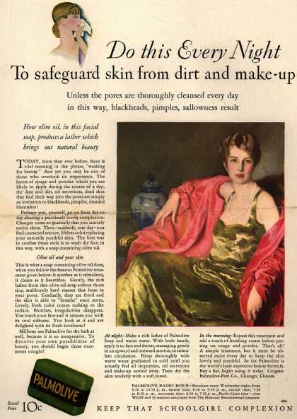 Colgate-Palmolive-Peet Company's Palmolive Soap – Do this Every Night To safeguard skin from dirt and make-up (1929)