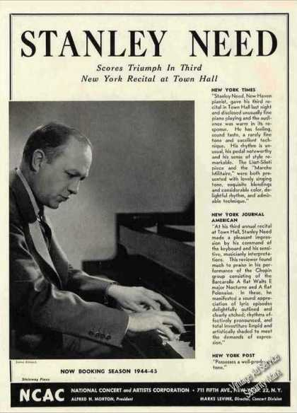 Stanley Need Photo Pianist Collectible Booking (1944)