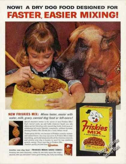 Beautiful Fawn Great Dane W/young Girl Friskies (1963)