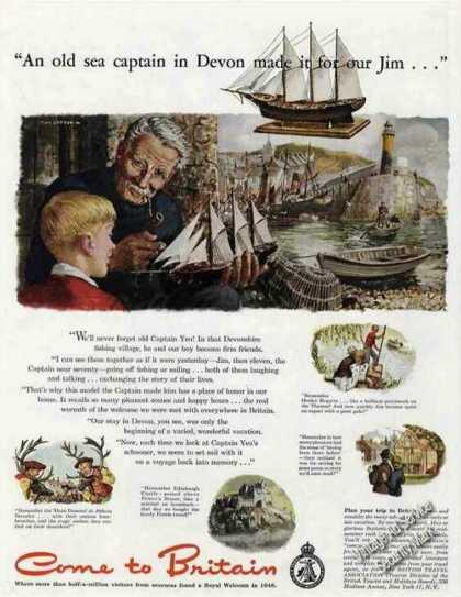 Britain Travel Ad Sea Captain Devon Model Ship Art (1949)