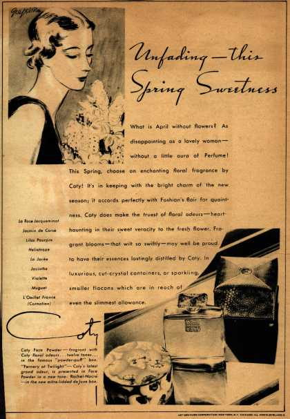 Coty's Cosmetics – Unfading – this Spring Sweetness (1933)