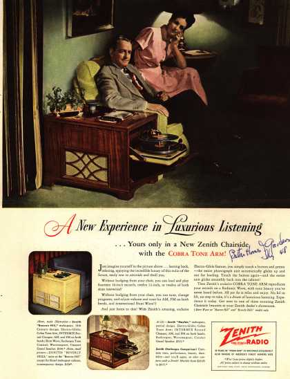 Zenith Radio Corporation's Zenith Chairside Radio-Phonograph – A New Experience in Luxurious Listening...Yours only in a New Zenith Chairside with the Cobra Tone Arm (1948)