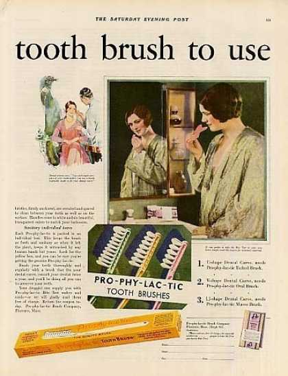 Pro-phy-lac-tic Tooth Brushes Color Ad 2 Page (1930)