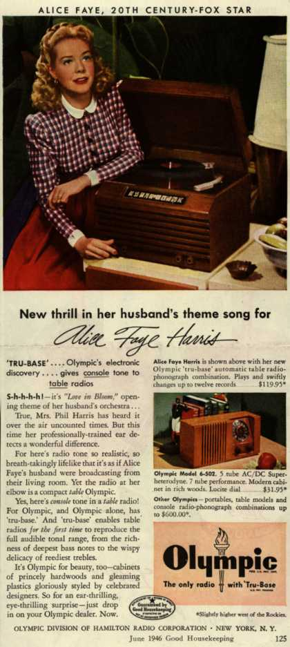 Olympic Division of Hamilton Radio Corporation's Table Radio – New Thrill in her Husband's Theme Song for Alice Faye Harris (1946)