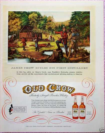 Old Crow Whiskey Builds Cabin Glenns Creek Ky (1955)