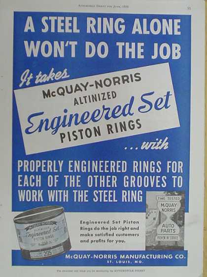 McQuay Norris Mfg. Engineered Set piston rings (1939)