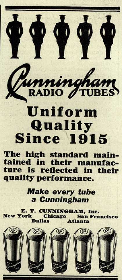 E.T. Cunningham's Radio Tubes – Uniform Quality since 1915 (1929)