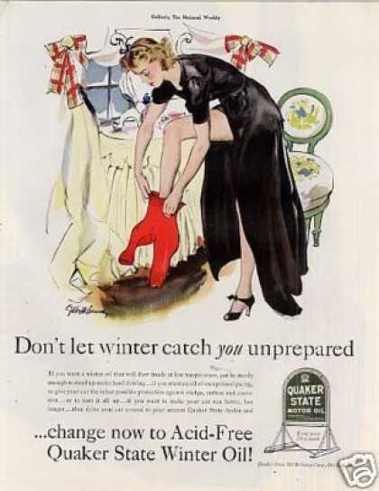 "Quaker State Oil Ad ""Don't Let Winter... (1939)"