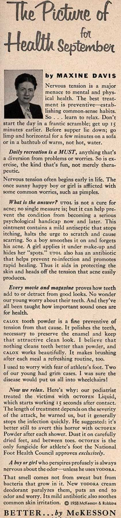 McKesson & Robbin's Maxine Davis advice column – The Picture of Health for September (1958)