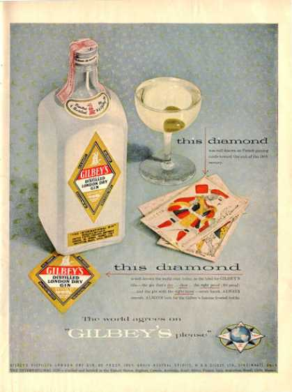Gilbey's Gin Bottles Card (1955)