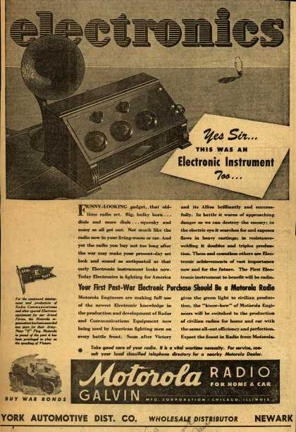 Motorola's Radio – electronics, Yes Sir... This Was An Electronic Instrument Too... (1943)